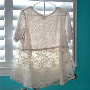 Creme colored blouse with lace flower pattern